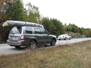 Halfway across the country with a halfway completed canoe on the rack.